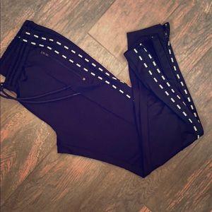 Victoria's Secret pink skinny track pants zip ankl